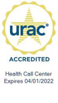 URAC Seal: URAC Accredited Health Call Center - Expires 4/1/2022